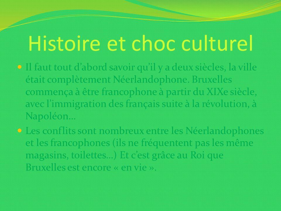 Histoire et choc culturel Il faut tout dabord savoir quil y a deux siècles, la ville était complètement Néerlandophone. Bruxelles commença à être fran