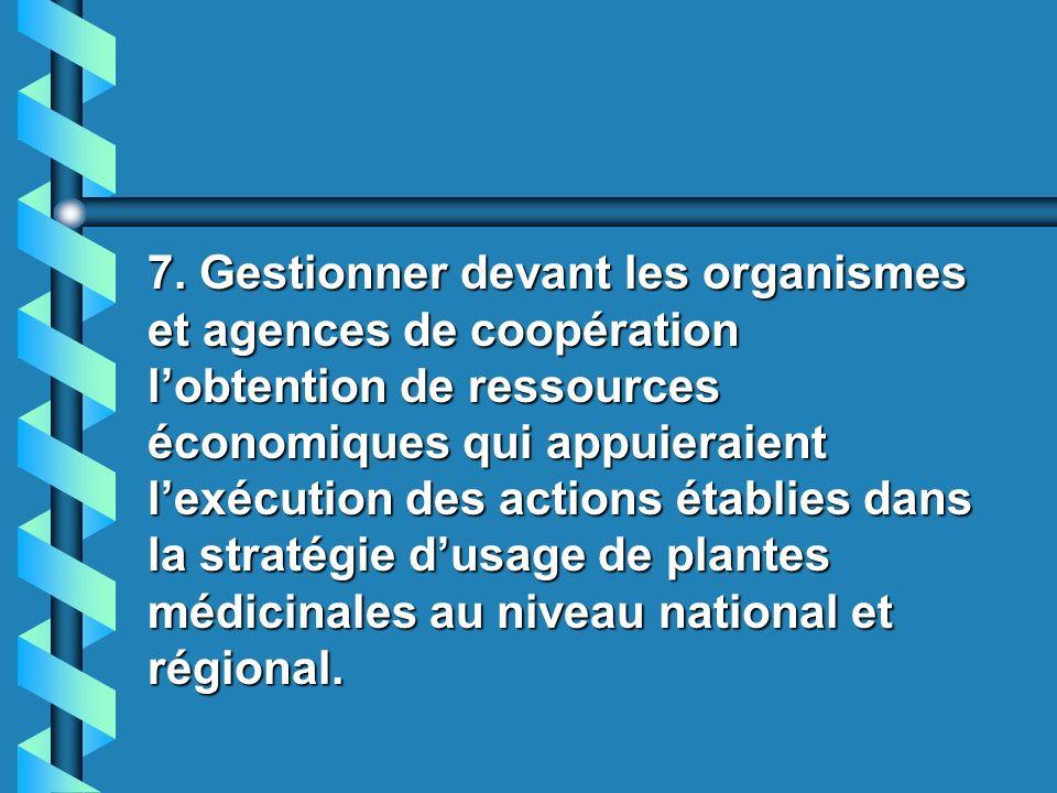 6. Stimuler des programmes éducatifs sur lusage adéquat des plantes médicinales pour et par la population. 6. Stimuler des programmes éducatifs sur lu