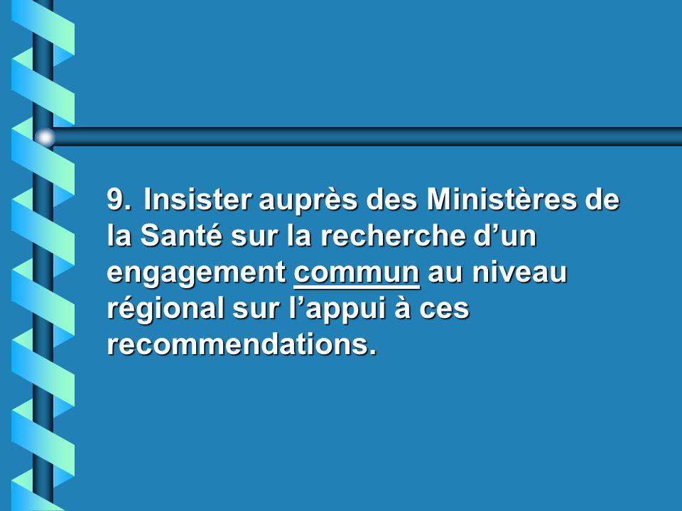8. Appuyer la proposition présentée par le Programme TRAMIL devant les Ministères de la Santé y les Universités lors de la Réunion de Panama le 29 jan