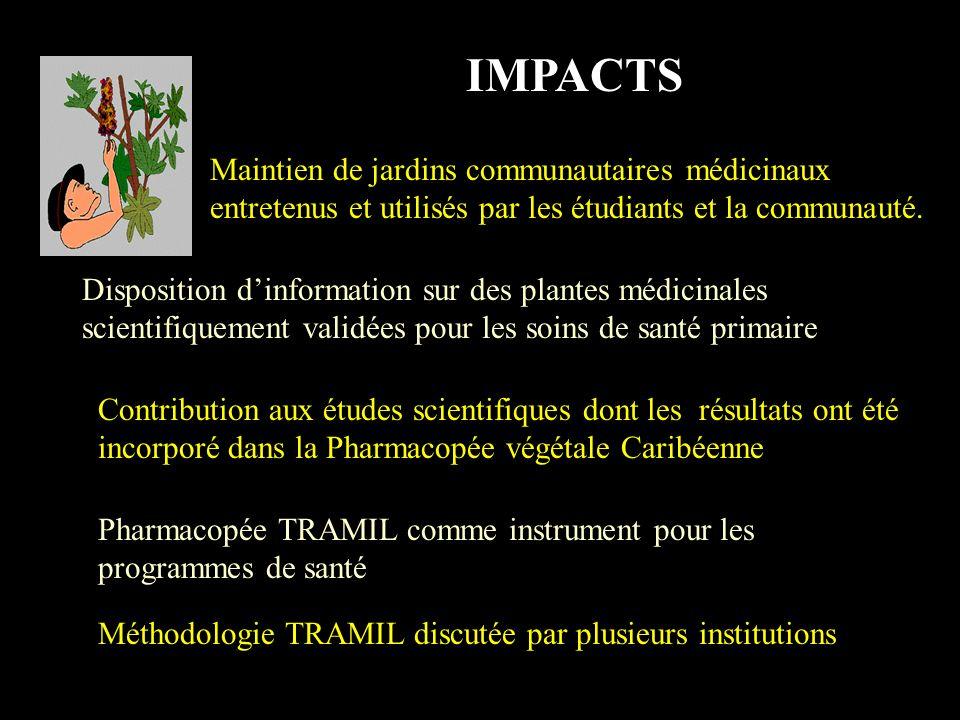 IMPACTS Réceptivité des Ministères de la région pour incorporer les resultats TRAMIL dans les programmes de promotion de santé et de soins de santé pr