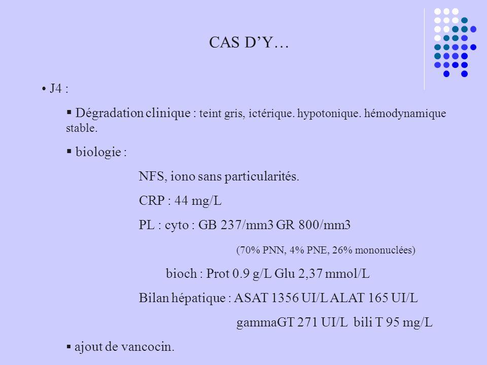 CAS DY… J4 : Dégradation clinique : teint gris, ictérique. hypotonique. hémodynamique stable. biologie : NFS, iono sans particularités. CRP : 44 mg/L