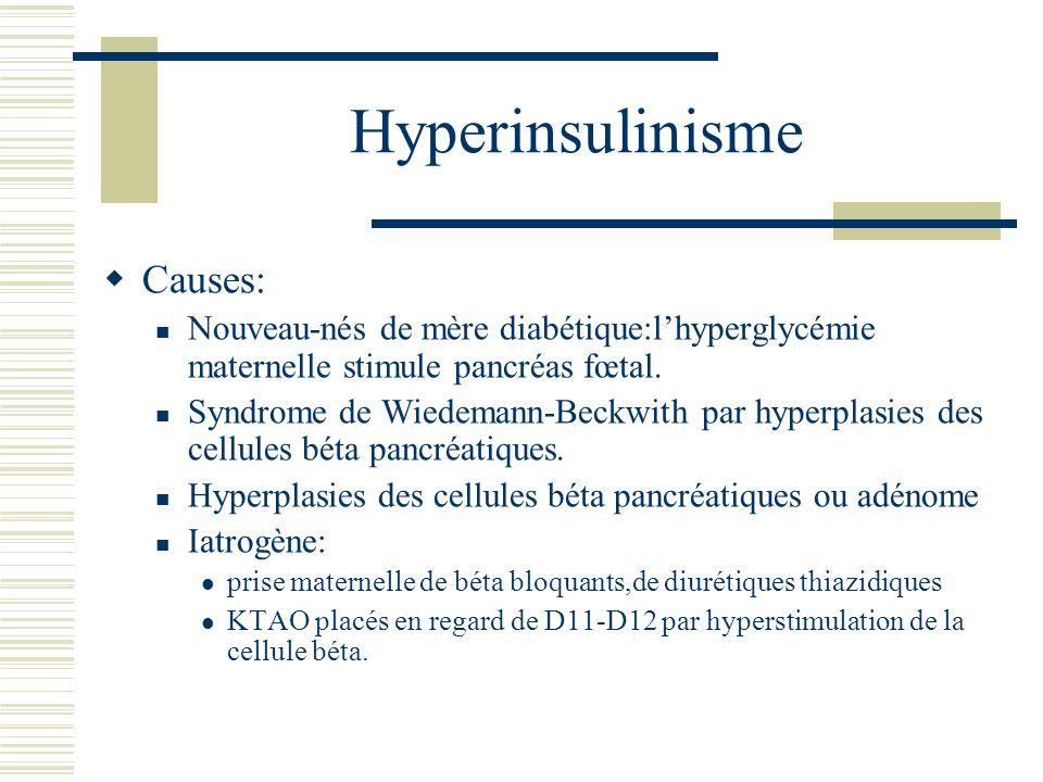 Hyperinsulinisme Causes: Nouveau-nés de mère diabétique:lhyperglycémie maternelle stimule pancréas fœtal. Syndrome de Wiedemann-Beckwith par hyperplas