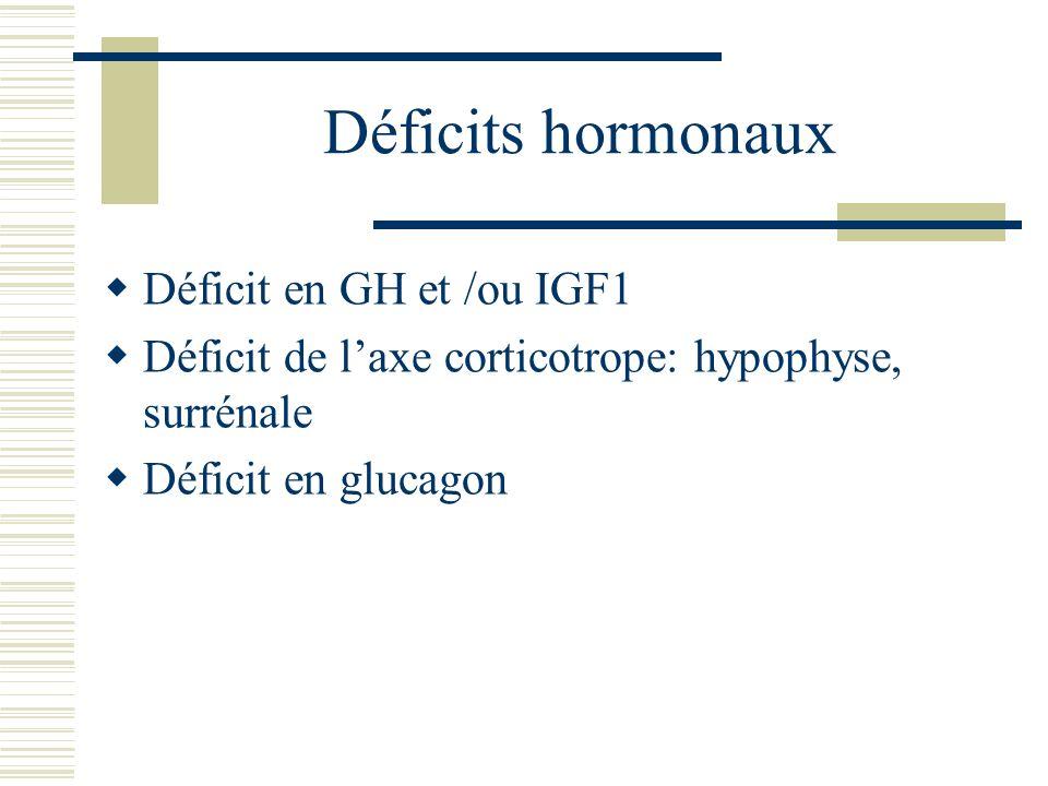 Déficits hormonaux Déficit en GH et /ou IGF1 Déficit de laxe corticotrope: hypophyse, surrénale Déficit en glucagon