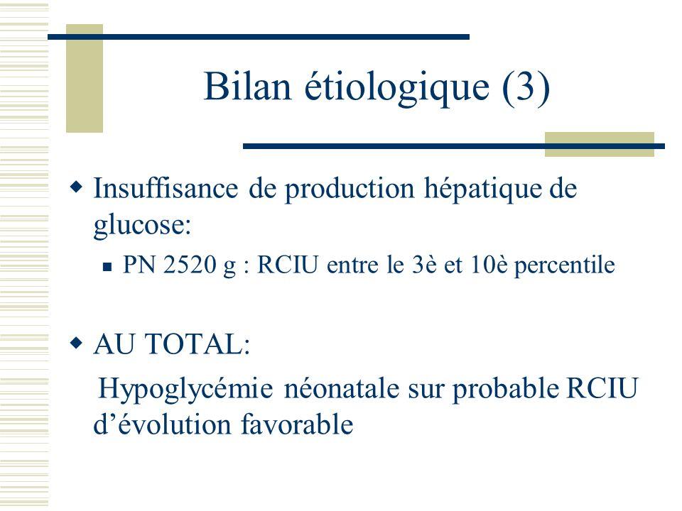 Bilan étiologique (3) Insuffisance de production hépatique de glucose: PN 2520 g : RCIU entre le 3è et 10è percentile AU TOTAL: Hypoglycémie néonatale