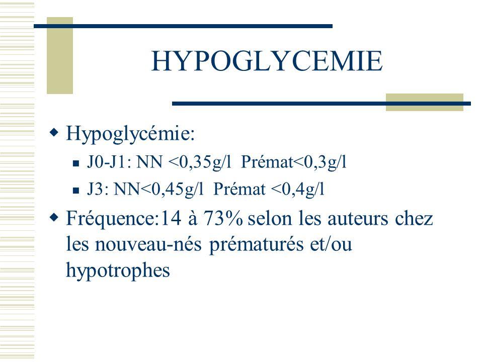 HYPOGLYCEMIE Hypoglycémie: J0-J1: NN <0,35g/l Prémat<0,3g/l J3: NN<0,45g/l Prémat <0,4g/l Fréquence:14 à 73% selon les auteurs chez les nouveau-nés pr