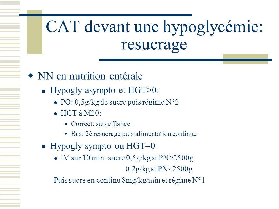 CAT devant une hypoglycémie: resucrage NN en nutrition entérale Hypogly asympto et HGT>0: PO: 0,5g/kg de sucre puis régime N°2 HGT à M20: Correct: sur