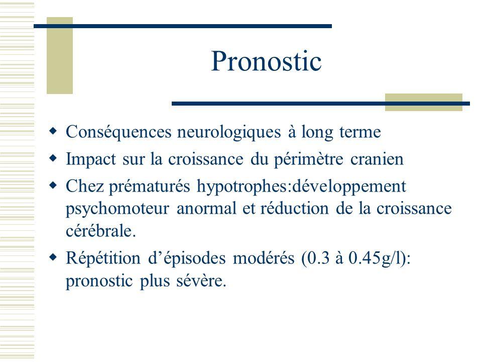 Pronostic Conséquences neurologiques à long terme Impact sur la croissance du périmètre cranien Chez prématurés hypotrophes:développement psychomoteur