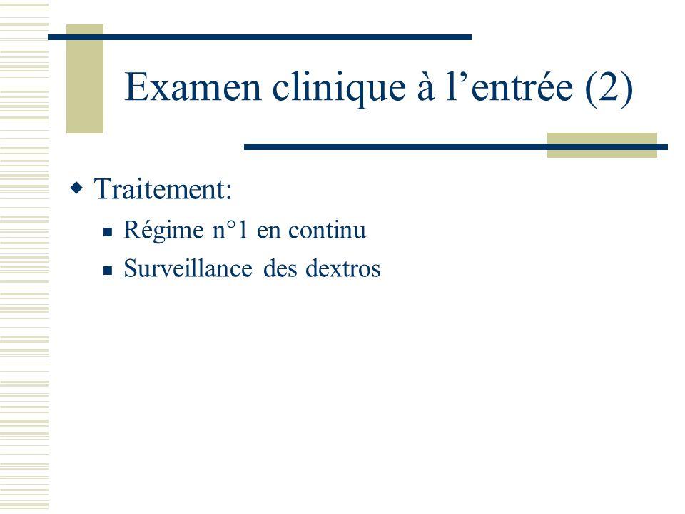 Examen clinique à lentrée (2) Traitement: Régime n°1 en continu Surveillance des dextros