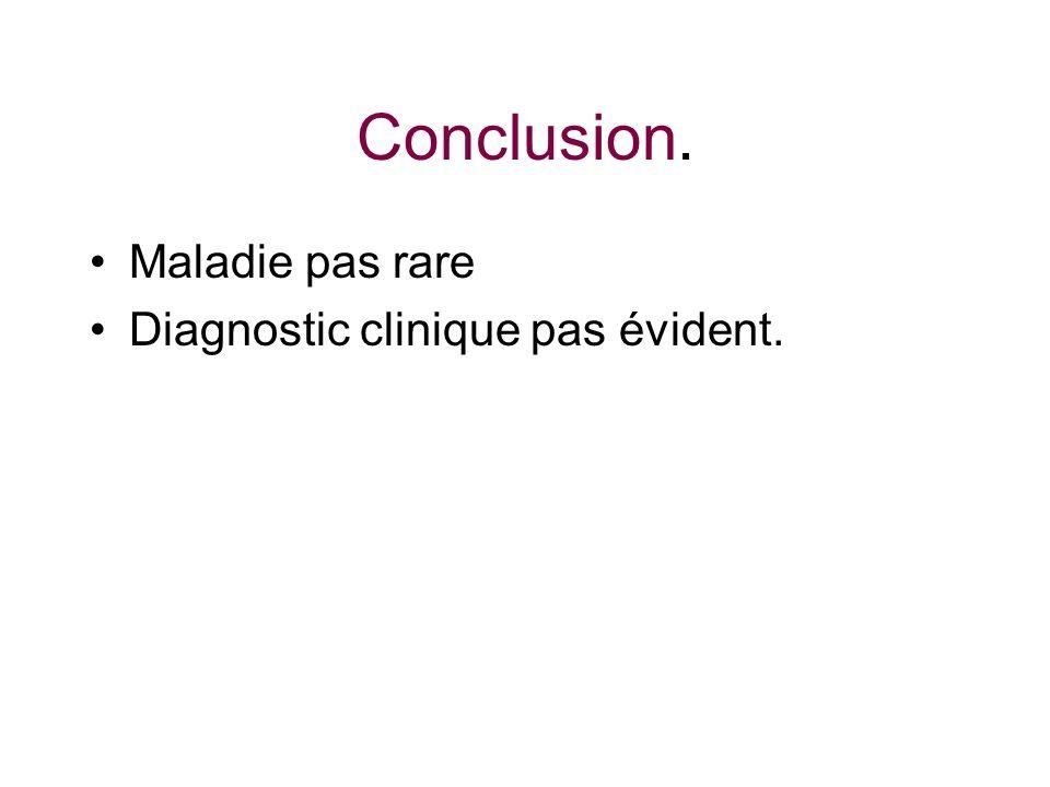 Conclusion. Maladie pas rare Diagnostic clinique pas évident.