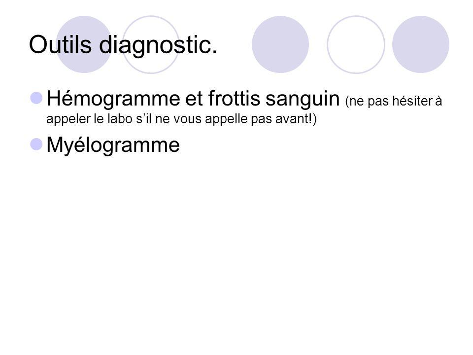 Outils diagnostic. Hémogramme et frottis sanguin (ne pas hésiter à appeler le labo sil ne vous appelle pas avant!) Myélogramme