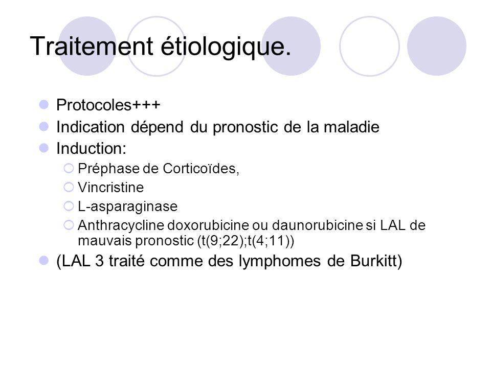 Traitement étiologique. Protocoles+++ Indication dépend du pronostic de la maladie Induction: Préphase de Corticoïdes, Vincristine L-asparaginase Anth
