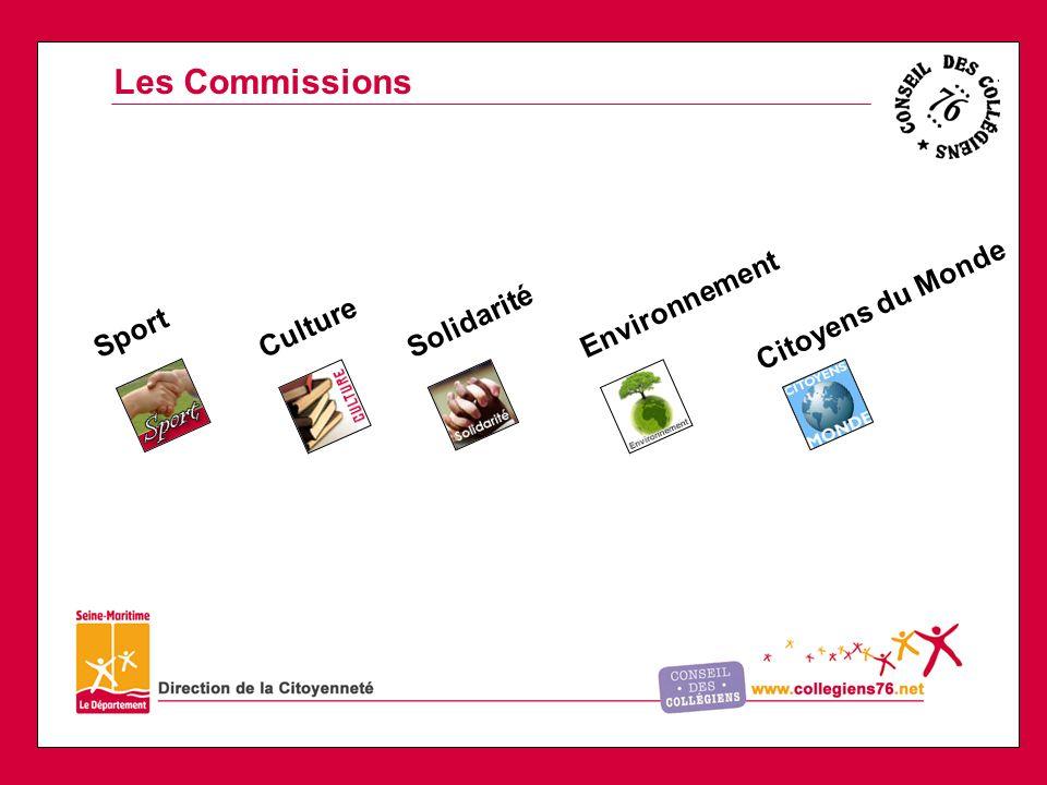 Les Commissions SportCultureSolidaritéEnvironnement Citoyens du Monde