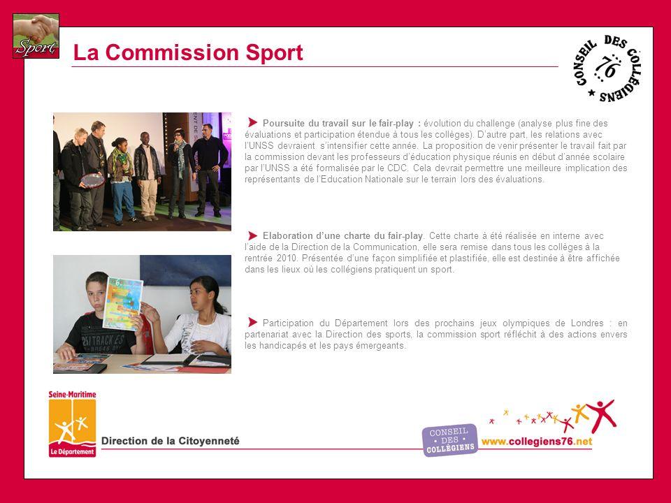 La Commission Sport Poursuite du travail sur le fair-play : évolution du challenge (analyse plus fine des évaluations et participation étendue à tous les collèges).
