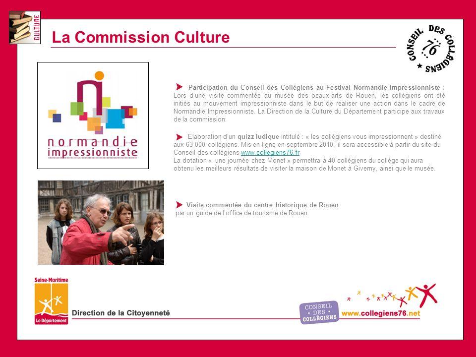 La Commission Culture Participation du Conseil des Collégiens au Festival Normandie Impressionniste : Lors dune visite commentée au musée des beaux-arts de Rouen, les collégiens ont été initiés au mouvement impressionniste dans le but de réaliser une action dans le cadre de Normandie Impressionniste.