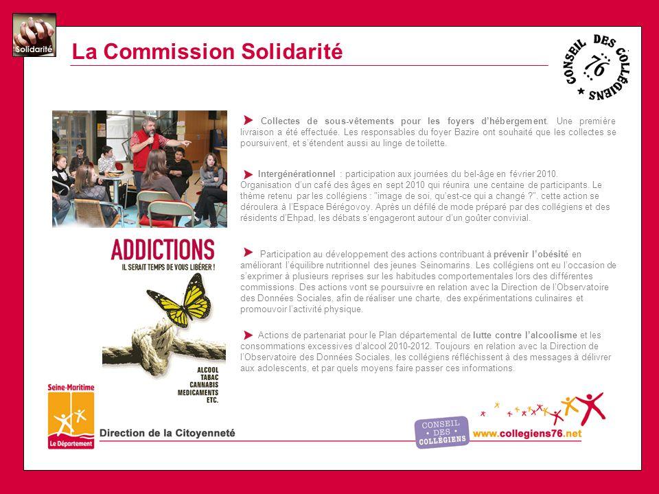 La Commission Solidarité Collectes de sous-vêtements pour les foyers dhébergement.