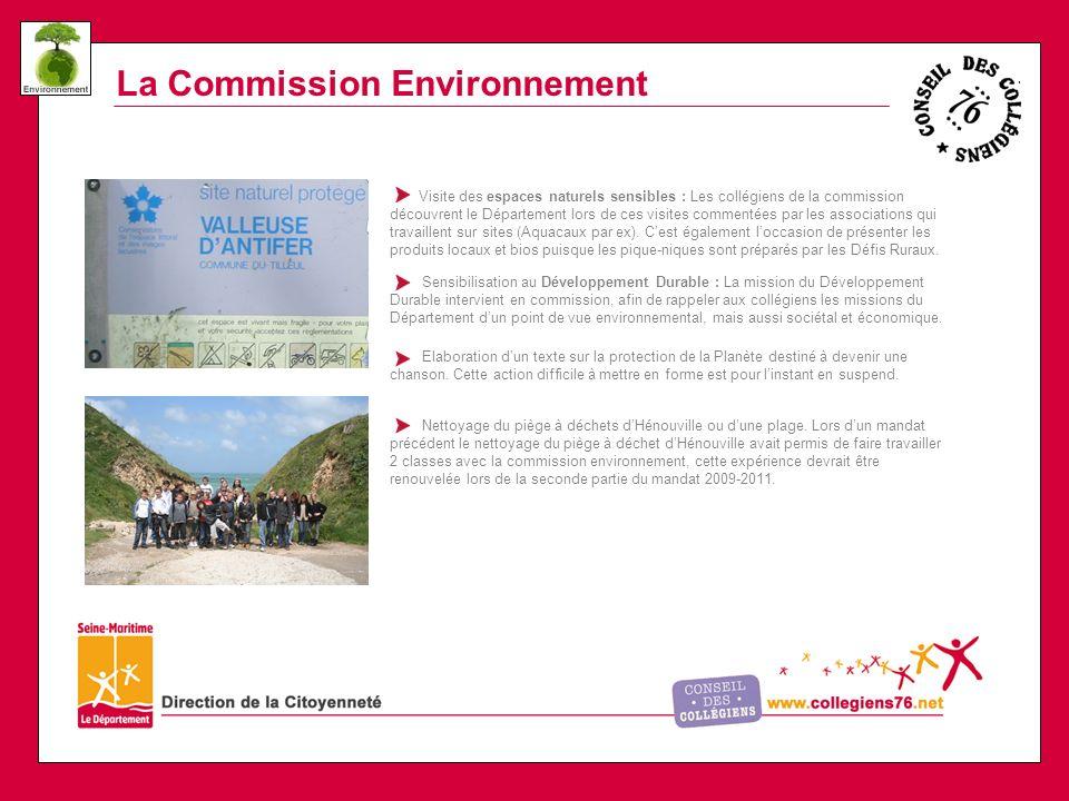 La Commission Environnement Visite des espaces naturels sensibles : Les collégiens de la commission découvrent le Département lors de ces visites commentées par les associations qui travaillent sur sites (Aquacaux par ex).