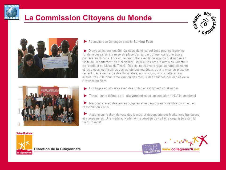 La Commission Citoyens du Monde Poursuite des échanges avec le Burkina Faso Diverses actions ont été réalisées dans les collèges pour collecter les fonds nécessaires à la mise en place dun jardin potager dans une école primaire au Burkina.