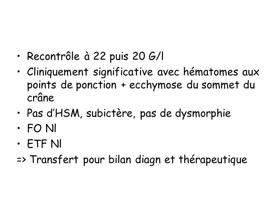 Recontrôle à 22 puis 20 G/l Cliniquement significative avec hématomes aux points de ponction + ecchymose du sommet du crâne Pas dHSM, subictère, pas d
