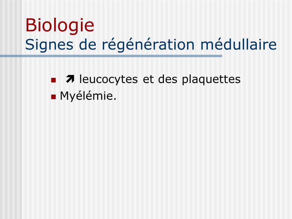 Biologie Signes de régénération médullaire leucocytes et des plaquettes Myélémie.