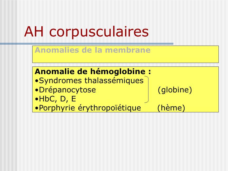 AH corpusculaires Anomalies de la membrane Anomalie de hémoglobine : Syndromes thalassémiques Drépanocytose (globine) HbC, D, E Porphyrie érythropoïét