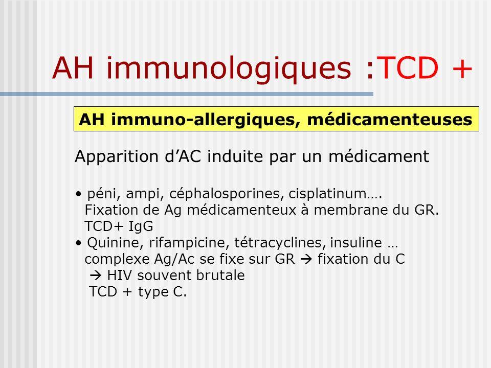 AH immunologiques :TCD + AH immuno-allergiques, médicamenteuses Apparition dAC induite par un médicament péni, ampi, céphalosporines, cisplatinum…. Fi