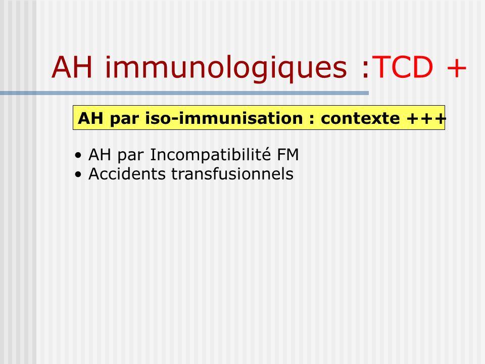 AH immunologiques :TCD + AH par iso-immunisation : contexte +++ AH par Incompatibilité FM Accidents transfusionnels