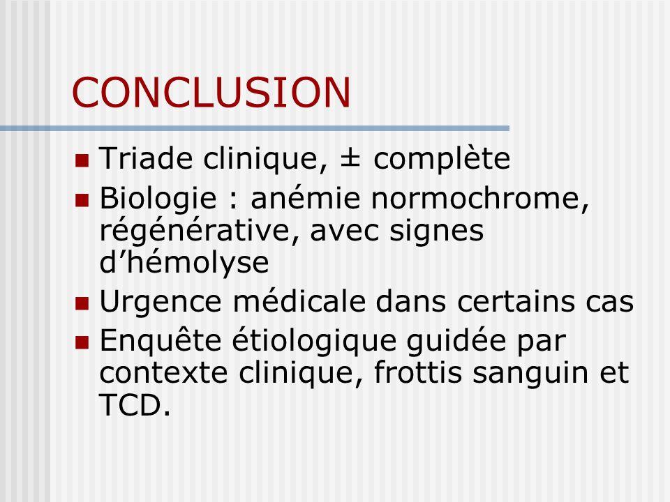 CONCLUSION Triade clinique, ± complète Biologie : anémie normochrome, régénérative, avec signes dhémolyse Urgence médicale dans certains cas Enquête é