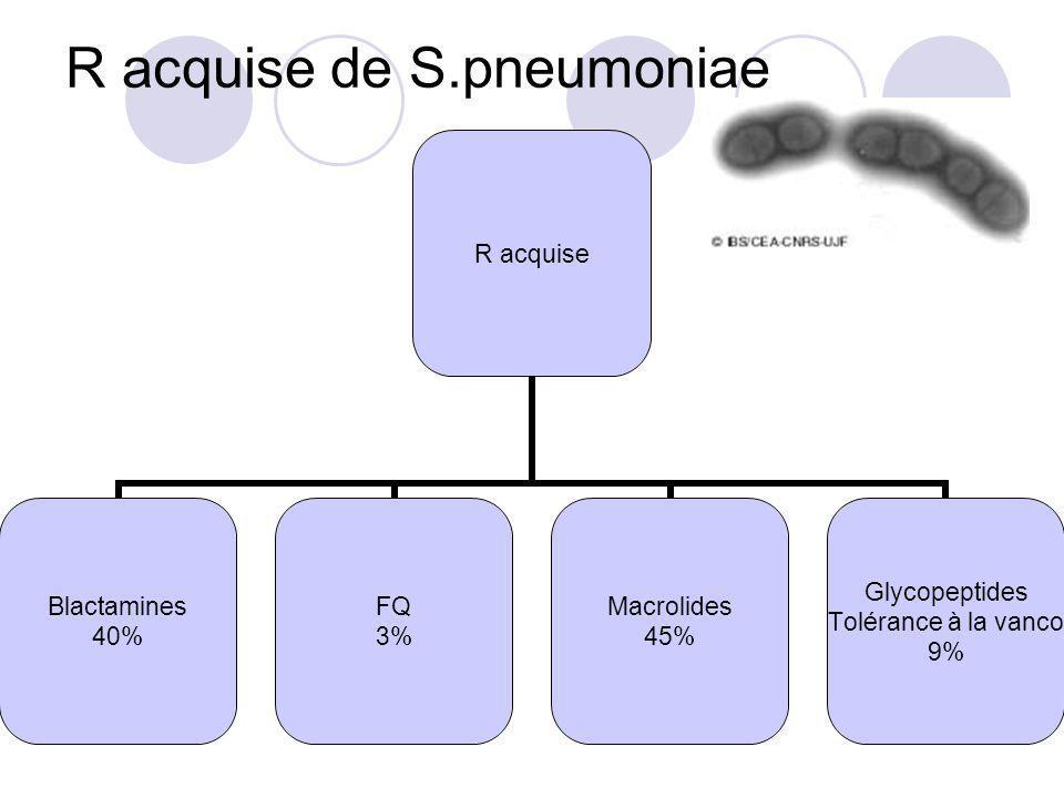 R acquise de S.pneumoniae R acquise Blactamines 40% FQ 3% Macrolides 45% Glycopeptides Tolérance à la vanco 9%
