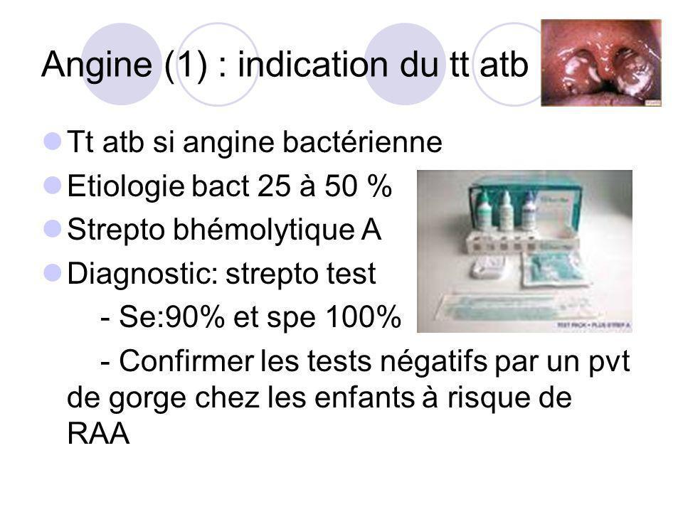 Angine (1) : indication du tt atb Tt atb si angine bactérienne Etiologie bact 25 à 50 % Strepto bhémolytique A Diagnostic: strepto test - Se:90% et sp