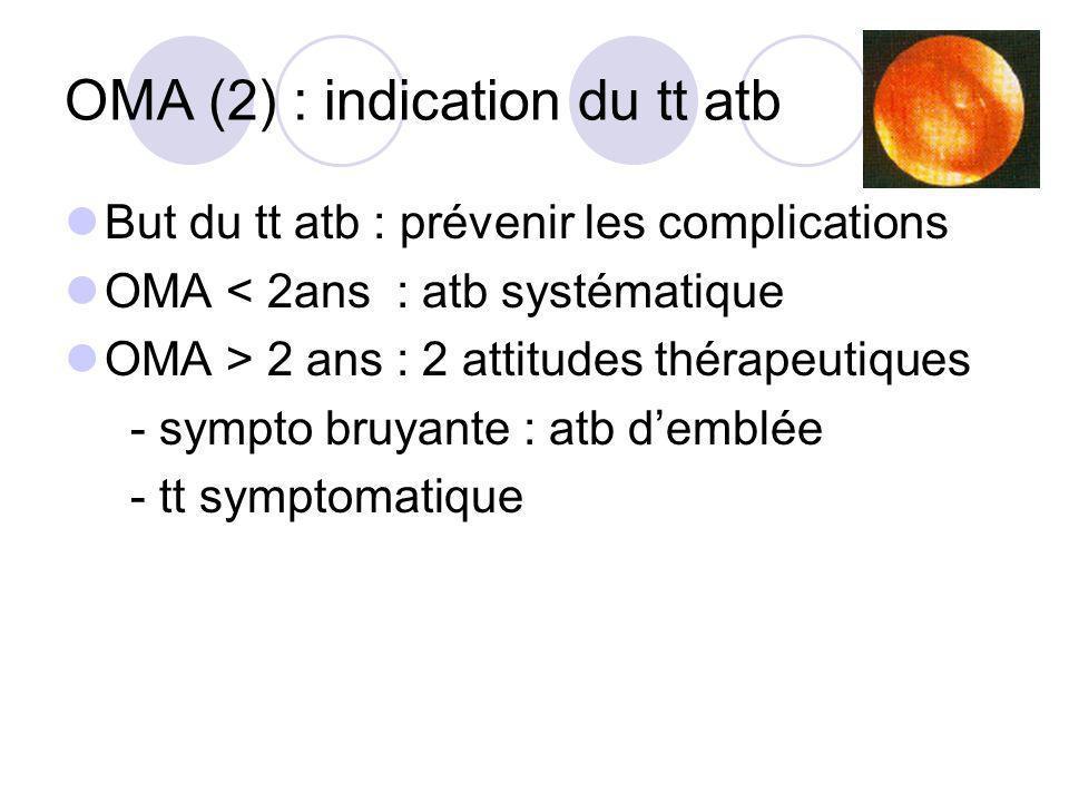 OMA (2) : indication du tt atb But du tt atb : prévenir les complications OMA < 2ans : atb systématique OMA > 2 ans : 2 attitudes thérapeutiques - sym