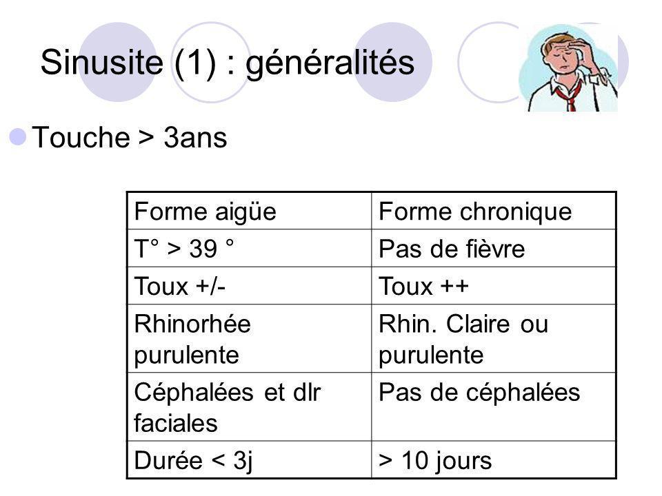 Sinusite (1) : généralités Touche > 3ans Forme aigüeForme chronique T° > 39 °Pas de fièvre Toux +/-Toux ++ Rhinorhée purulente Rhin. Claire ou purulen