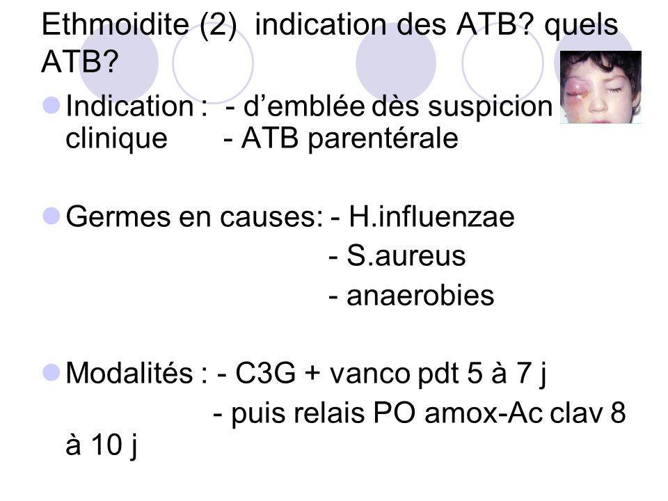 Ethmoidite (2) indication des ATB? quels ATB? Indication : - demblée dès suspicion clinique - ATB parentérale Germes en causes: - H.influenzae - S.aur