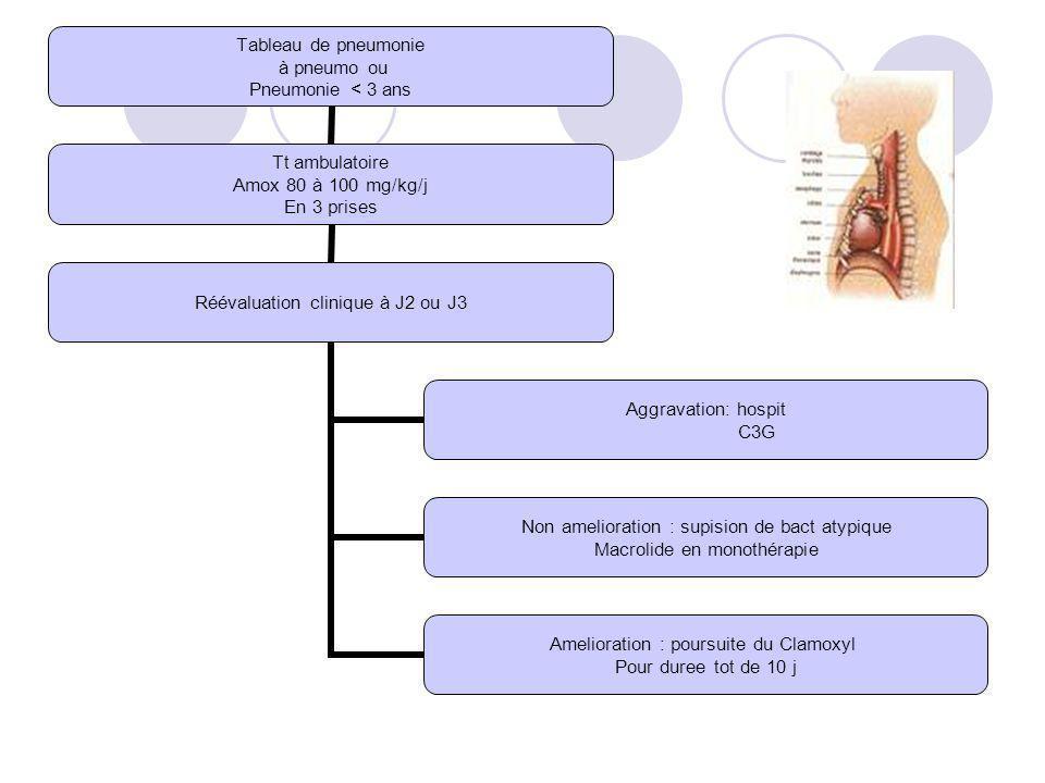 Tableau de pneumonie à pneumo ou Pneumonie < 3 ans Tt ambulatoire Amox 80 à 100 mg/kg/j En 3 prises Réévaluation clinique à J2 ou J3 Aggravation: hosp