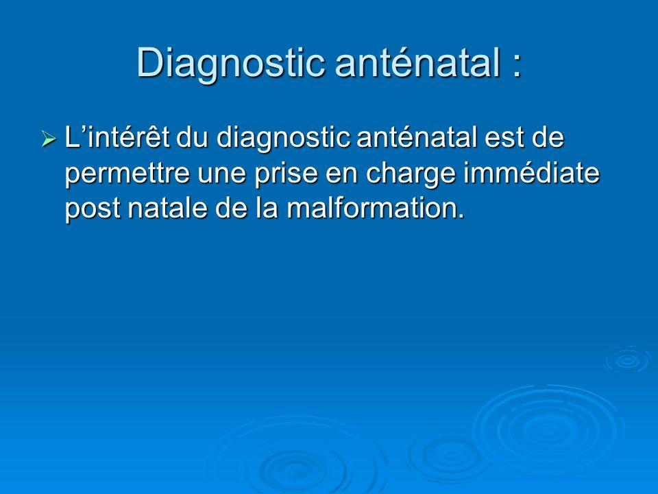 Diagnostic anténatal : Lintérêt du diagnostic anténatal est de permettre une prise en charge immédiate post natale de la malformation. Lintérêt du dia