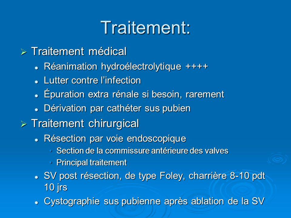 Traitement: Traitement médical Traitement médical Réanimation hydroélectrolytique ++++ Réanimation hydroélectrolytique ++++ Lutter contre linfection L