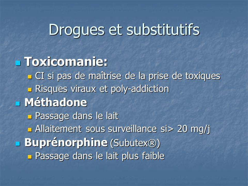Drogues et substitutifs Toxicomanie: Toxicomanie: CI si pas de maîtrise de la prise de toxiques CI si pas de maîtrise de la prise de toxiques Risques viraux et poly-addiction Risques viraux et poly-addiction Méthadone Méthadone Passage dans le lait Passage dans le lait Allaitement sous surveillance si> 20 mg/j Allaitement sous surveillance si> 20 mg/j Buprénorphine (Subutex®) Buprénorphine (Subutex®) Passage dans le lait plus faible Passage dans le lait plus faible