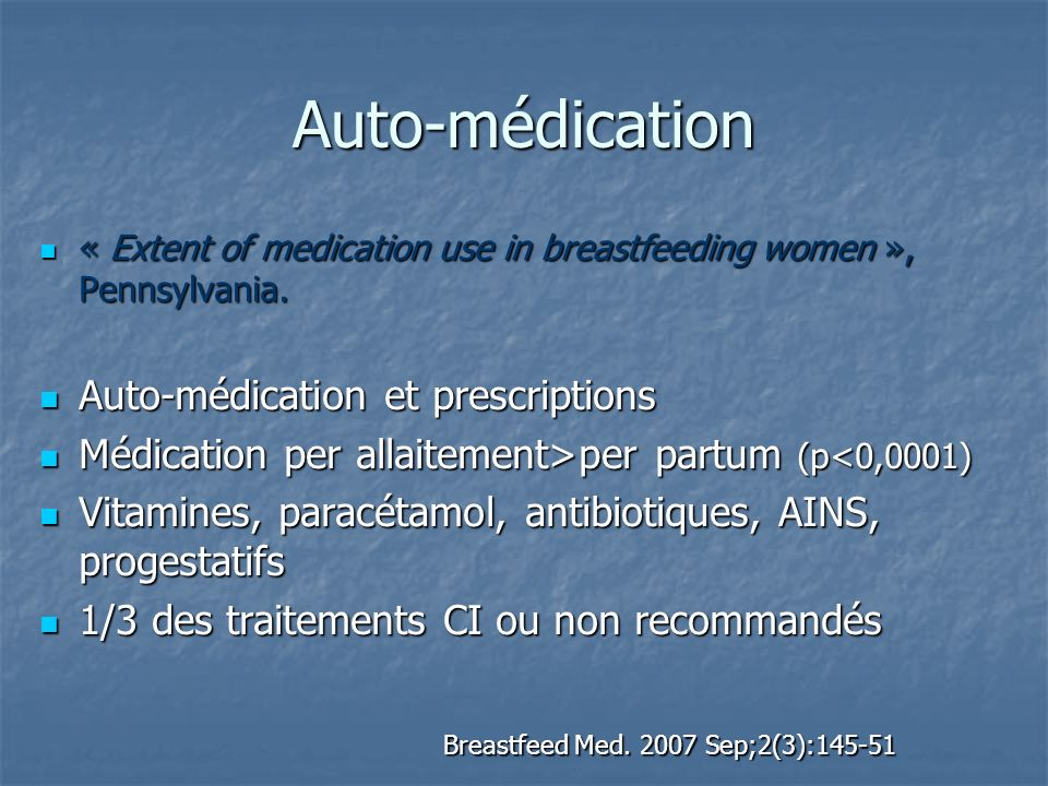 Auto-médication « Extent of medication use in breastfeeding women », Pennsylvania. « Extent of medication use in breastfeeding women », Pennsylvania.