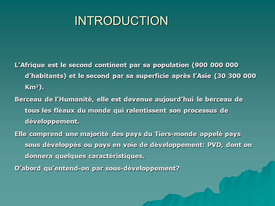 INTRODUCTION LAfrique est le second continent par sa population (900 000 000 dhabitants) et le second par sa superficie après lAsie (30 300 000 Km 2 ).