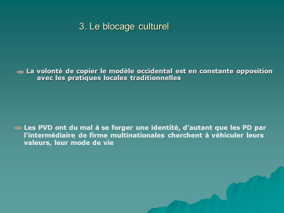 3. Le blocage culturel La volonté de copier le modèle occidental est en constante opposition avec les pratiques locales traditionnelles Les PVD ont du