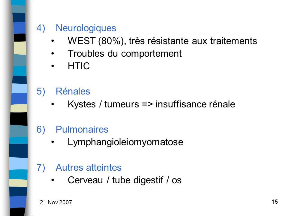 21 Nov 2007 15 4)Neurologiques WEST (80%), très résistante aux traitements Troubles du comportement HTIC 5)Rénales Kystes / tumeurs => insuffisance rénale 6)Pulmonaires Lymphangioleiomyomatose 7)Autres atteintes Cerveau / tube digestif / os
