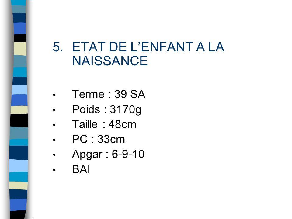5.ETAT DE LENFANT A LA NAISSANCE Terme : 39 SA Poids : 3170g Taille : 48cm PC : 33cm Apgar : 6-9-10 BAI