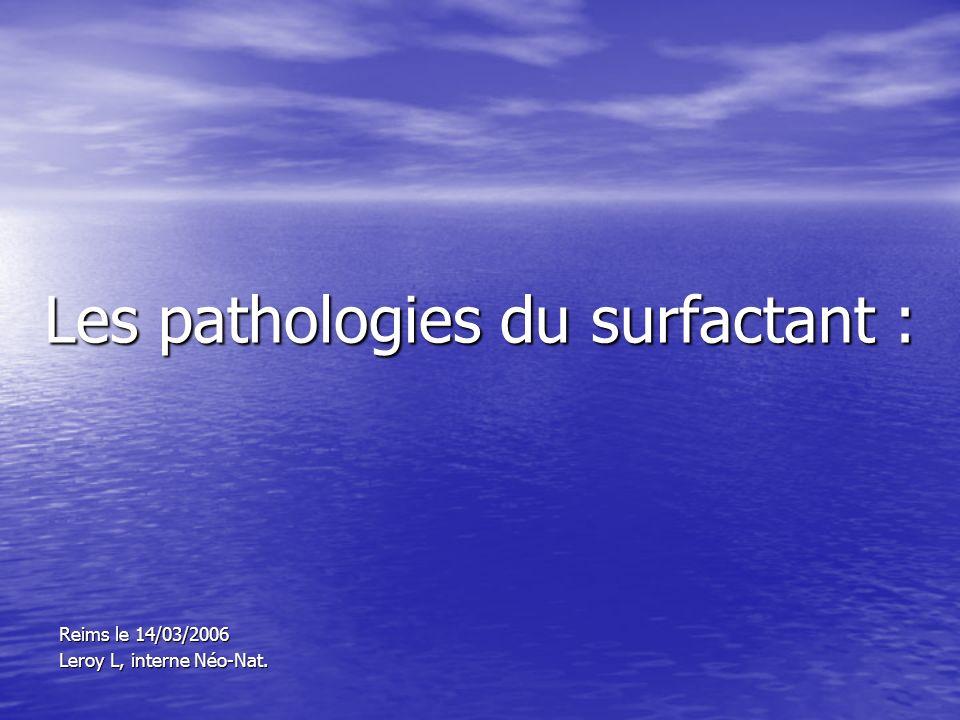 Les pathologies du surfactant : Reims le 14/03/2006 Leroy L, interne Néo-Nat.