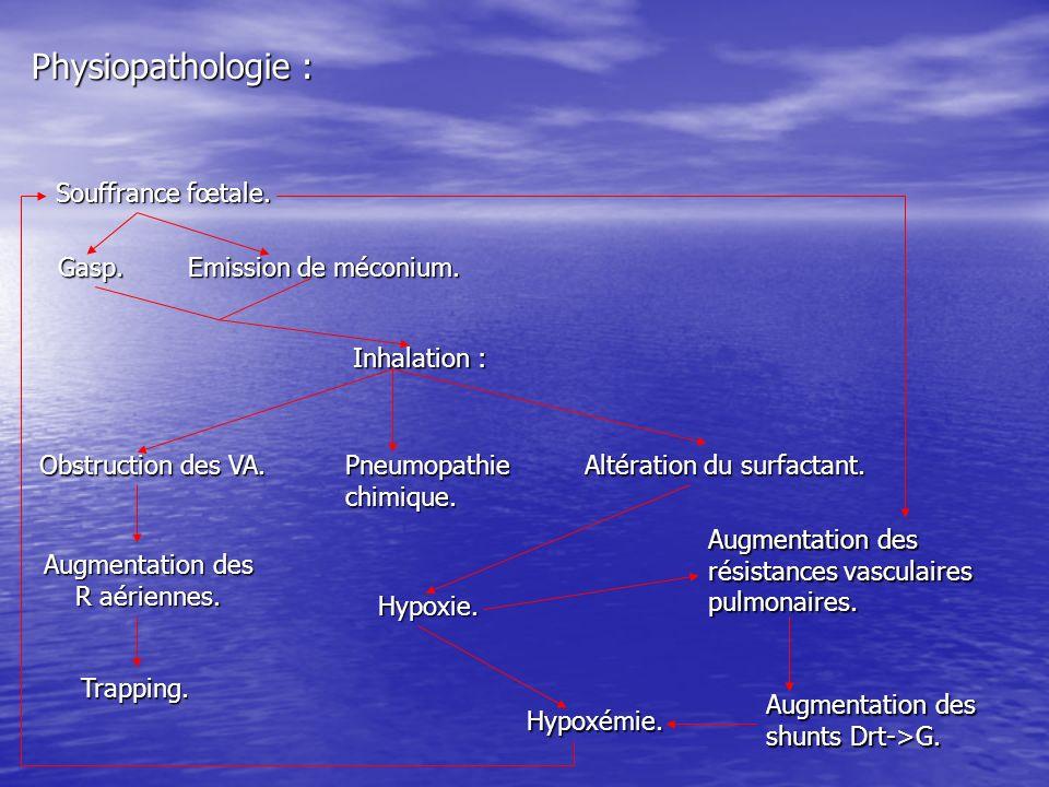 Physiopathologie : Souffrance fœtale. Gasp. Inhalation : Pneumopathie chimique. Obstruction des VA. Augmentation des R aériennes. Trapping. Altération