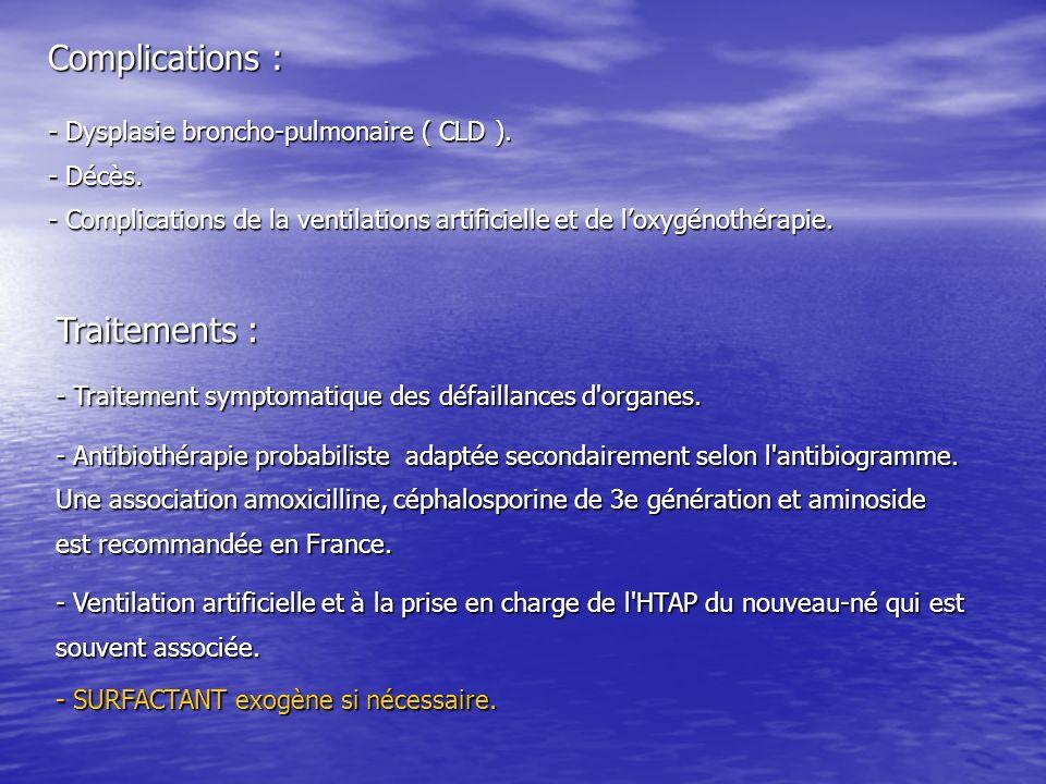 Complications : - Dysplasie broncho-pulmonaire ( CLD ). - Décès. - Complications de la ventilations artificielle et de loxygénothérapie. Traitements :