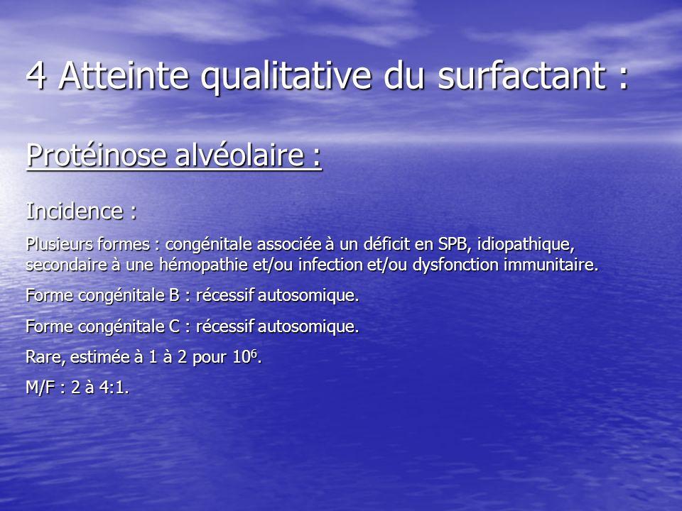 4 Atteinte qualitative du surfactant : Protéinose alvéolaire : Incidence : Plusieurs formes : congénitale associée à un déficit en SPB, idiopathique,