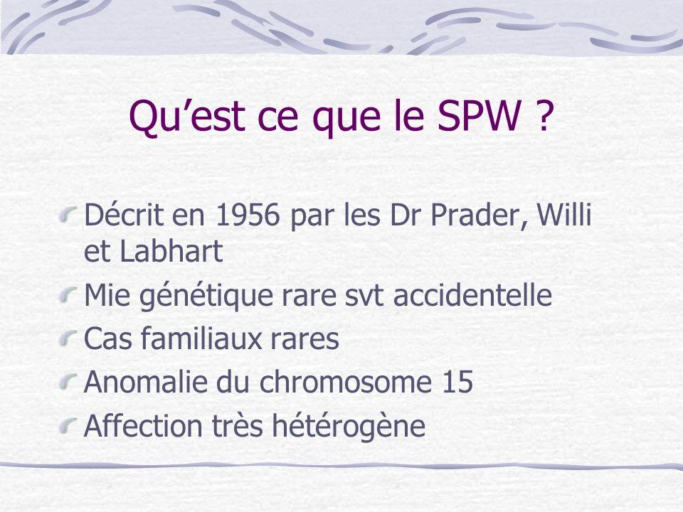 Quest ce que le SPW ? Décrit en 1956 par les Dr Prader, Willi et Labhart Mie génétique rare svt accidentelle Cas familiaux rares Anomalie du chromosom