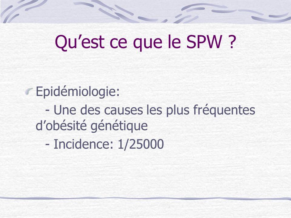 Quest ce que le SPW ? Epidémiologie: - Une des causes les plus fréquentes dobésité génétique - Incidence: 1/25000