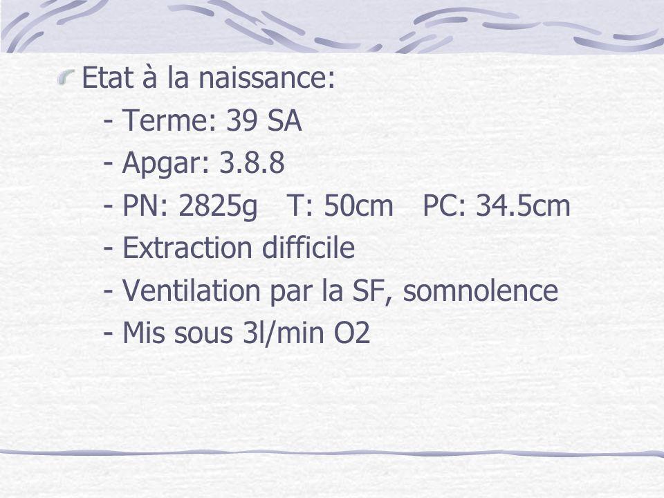 Etat à la naissance: - Terme: 39 SA - Apgar: 3.8.8 - PN: 2825g T: 50cm PC: 34.5cm - Extraction difficile - Ventilation par la SF, somnolence - Mis sou