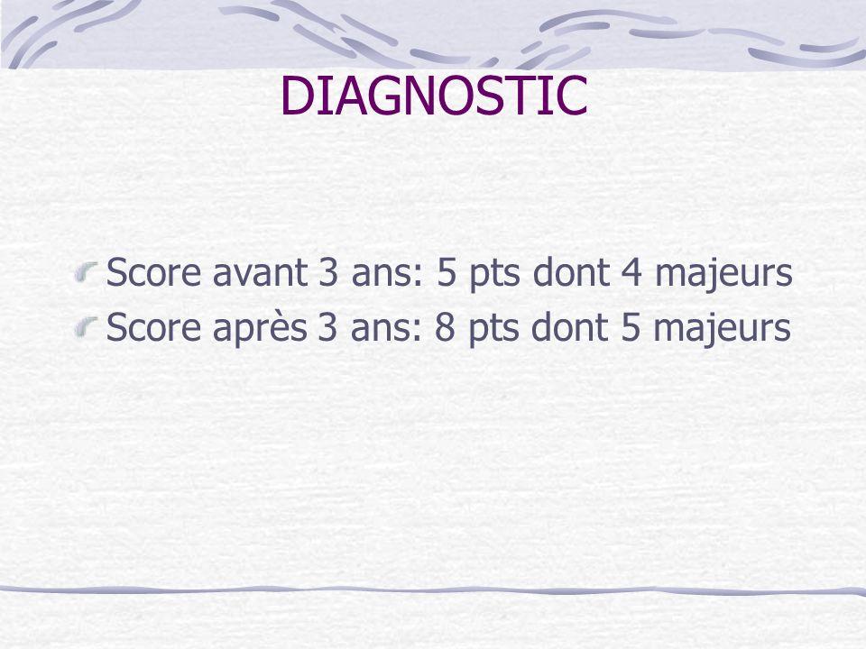 DIAGNOSTIC Score avant 3 ans: 5 pts dont 4 majeurs Score après 3 ans: 8 pts dont 5 majeurs