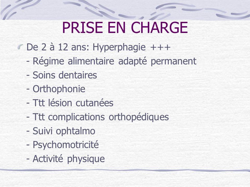 PRISE EN CHARGE De 2 à 12 ans: Hyperphagie +++ - Régime alimentaire adapté permanent - Soins dentaires - Orthophonie - Ttt lésion cutanées - Ttt compl